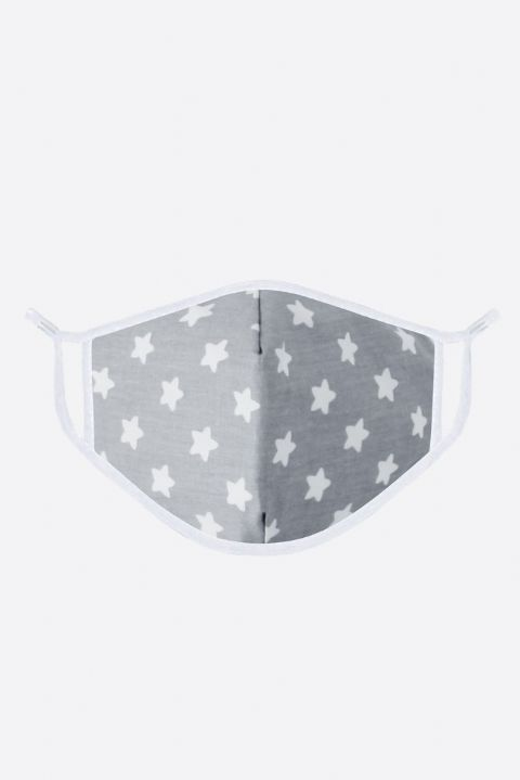 GREY & WHITE STARS FACE MASK